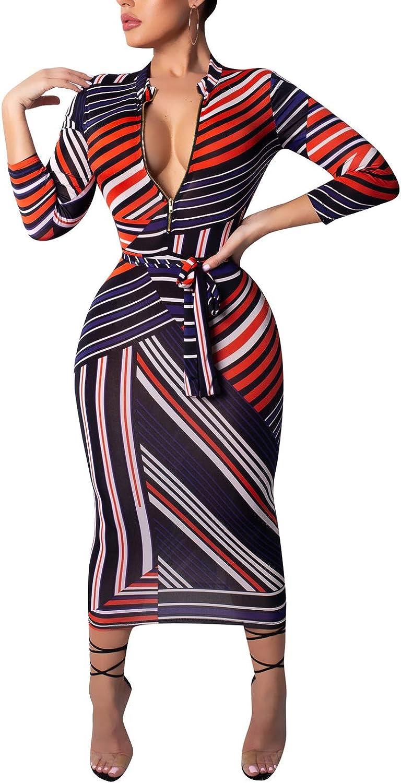 Women's Sexy Elegant Front Zip Long Sleeve Bodyncon Party Work Midi Pencil Dresses with Belt