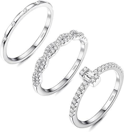 STONE Genuine Sterling Silver.925 Size 7 THIN STACKING TWIST BAND PAVE SET C.Z