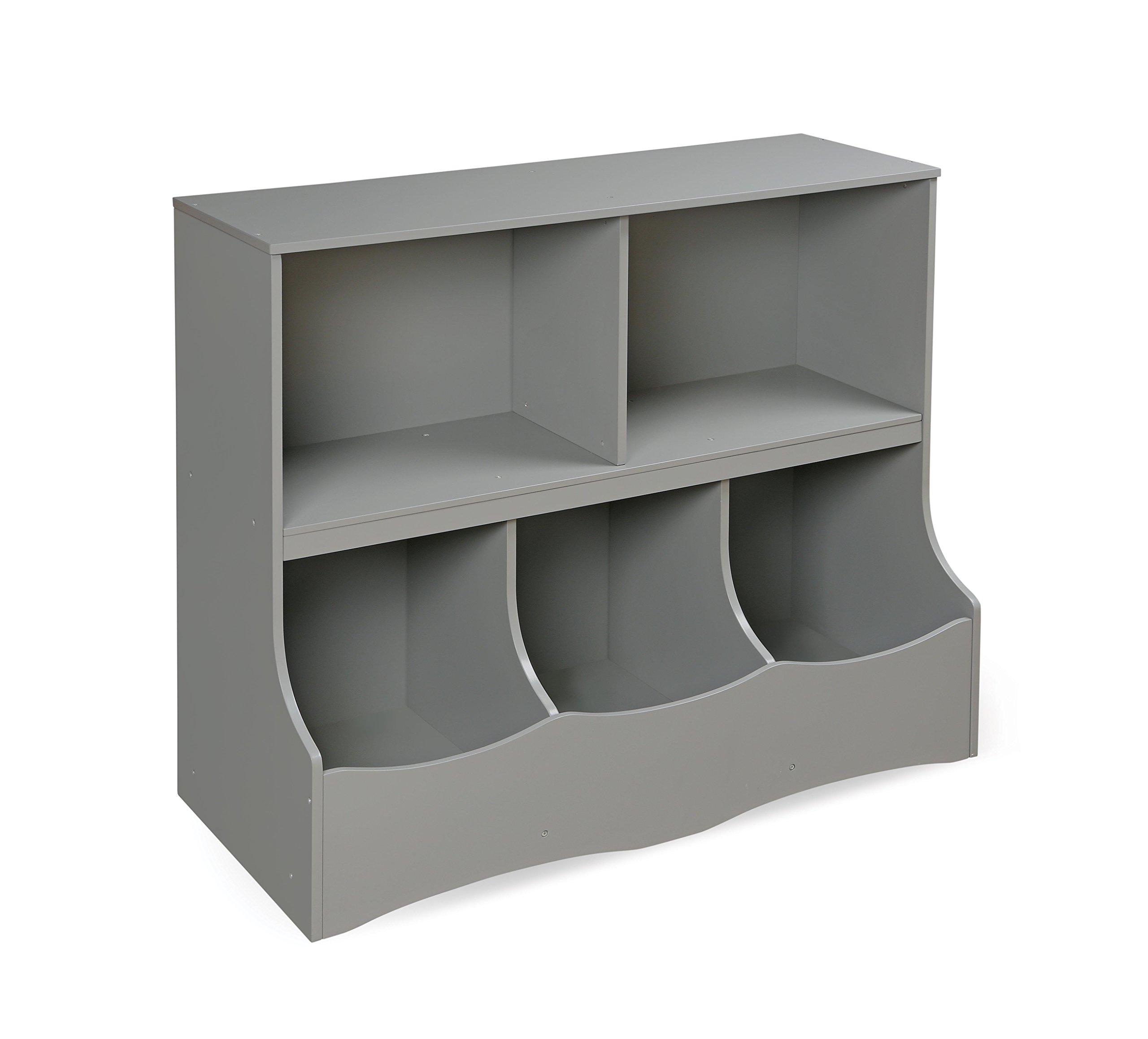 Multi-Bin Storage Organization 2 Shelf and 3 Bin Cubby Unit