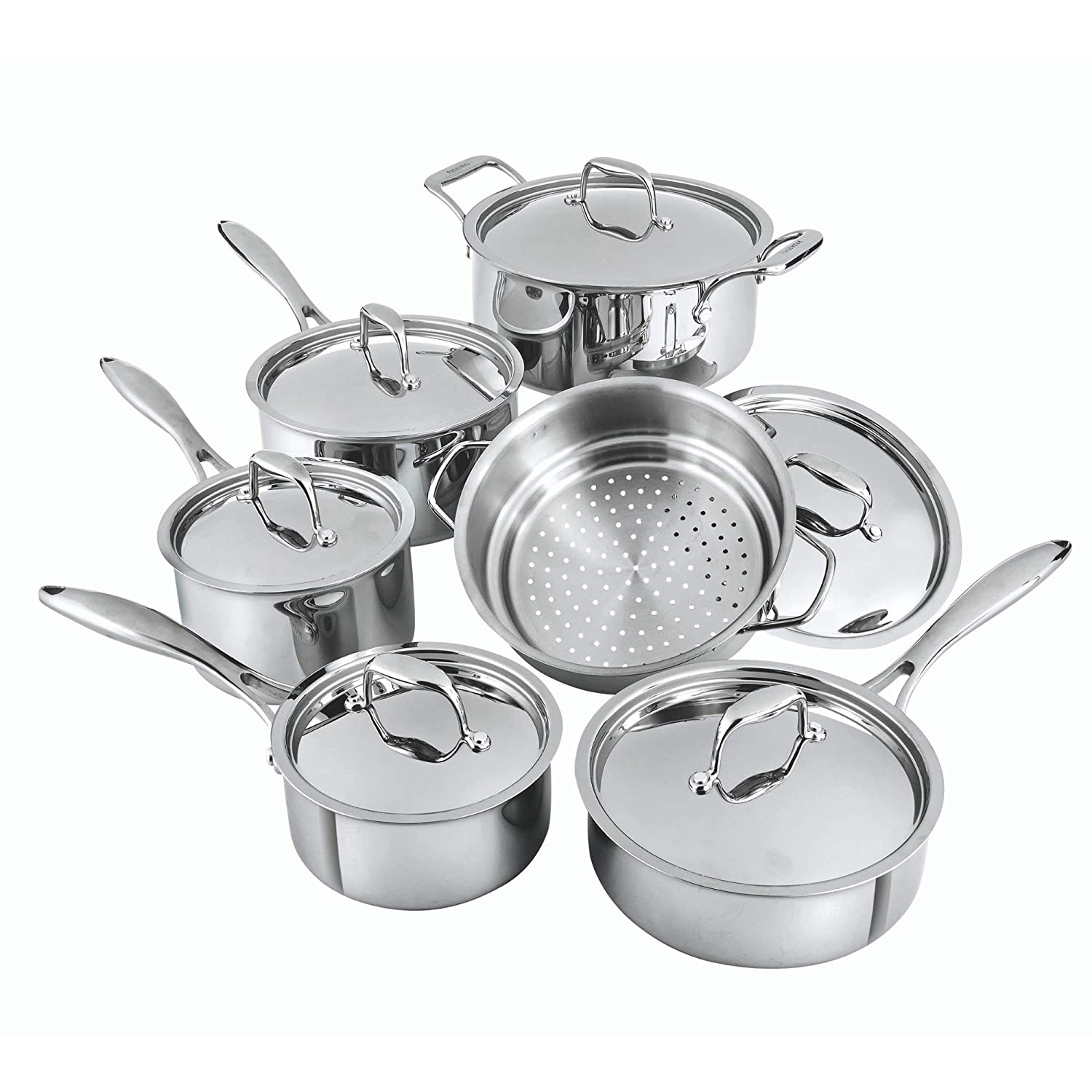 Paderno Canadian Professional 12-Piece Stainless-Steel Clad Cookware Set   Kitchen Pots and Pans Set with Covered Steamer