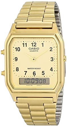 26c8d1b04 Image Unavailable. Image not available for. Color: Casio Men's AQ-230GA-9D Gold  Analog & Digital with Index Watch