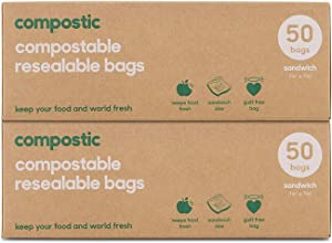 Compostic Home Compostable Resealable Sandwich Bags - Eco Friendly, Reusable, Zero Waste, Non-toxic, Guilt-Free - Plastic Alternative for Earth Friendly Food Storage - (7