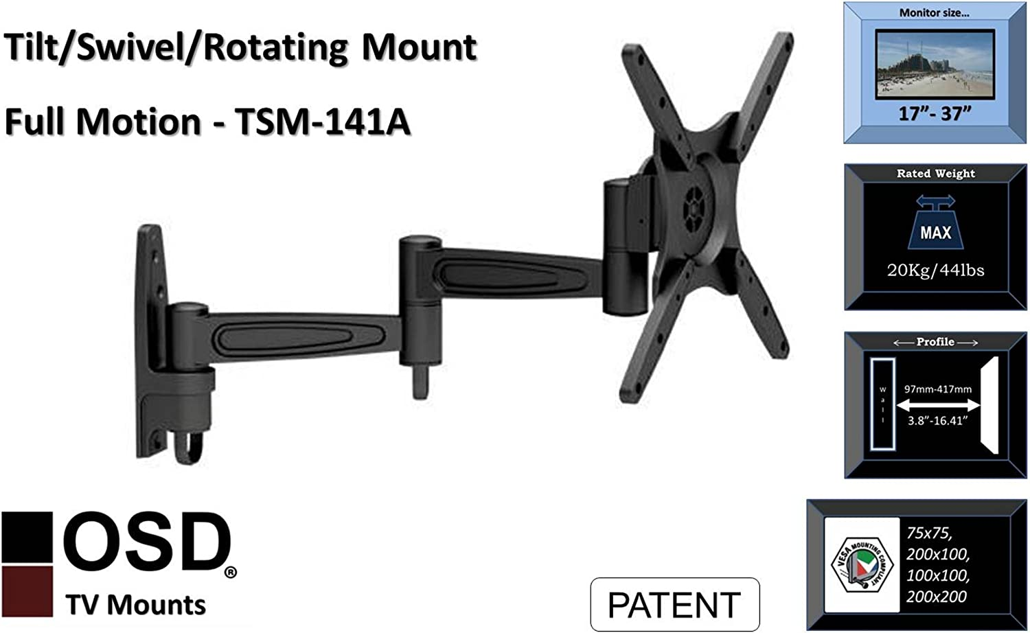 OSD Audio TSM-141A Dual Arm Full Motion Aluminum Wall Mount with Anti-Theft Design for 17