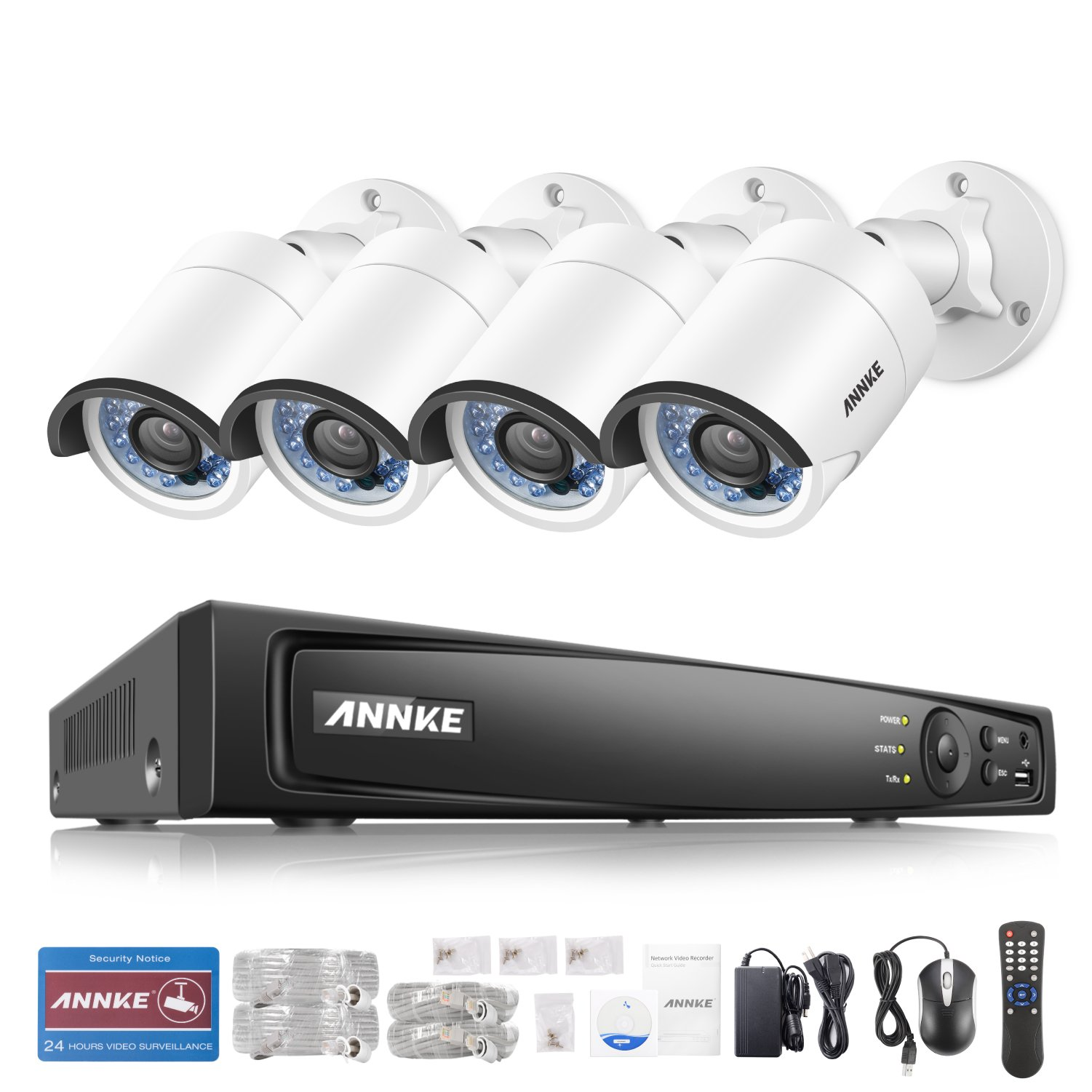 ANNKE 1080P Professional POE (2MP/3MP/4MP/5MP/6MP) NVR Video Security System and (4) 2.0MP CCTV Weatherproof Network/IP Cameras with IR-cut Night Vision, NO HDD Included