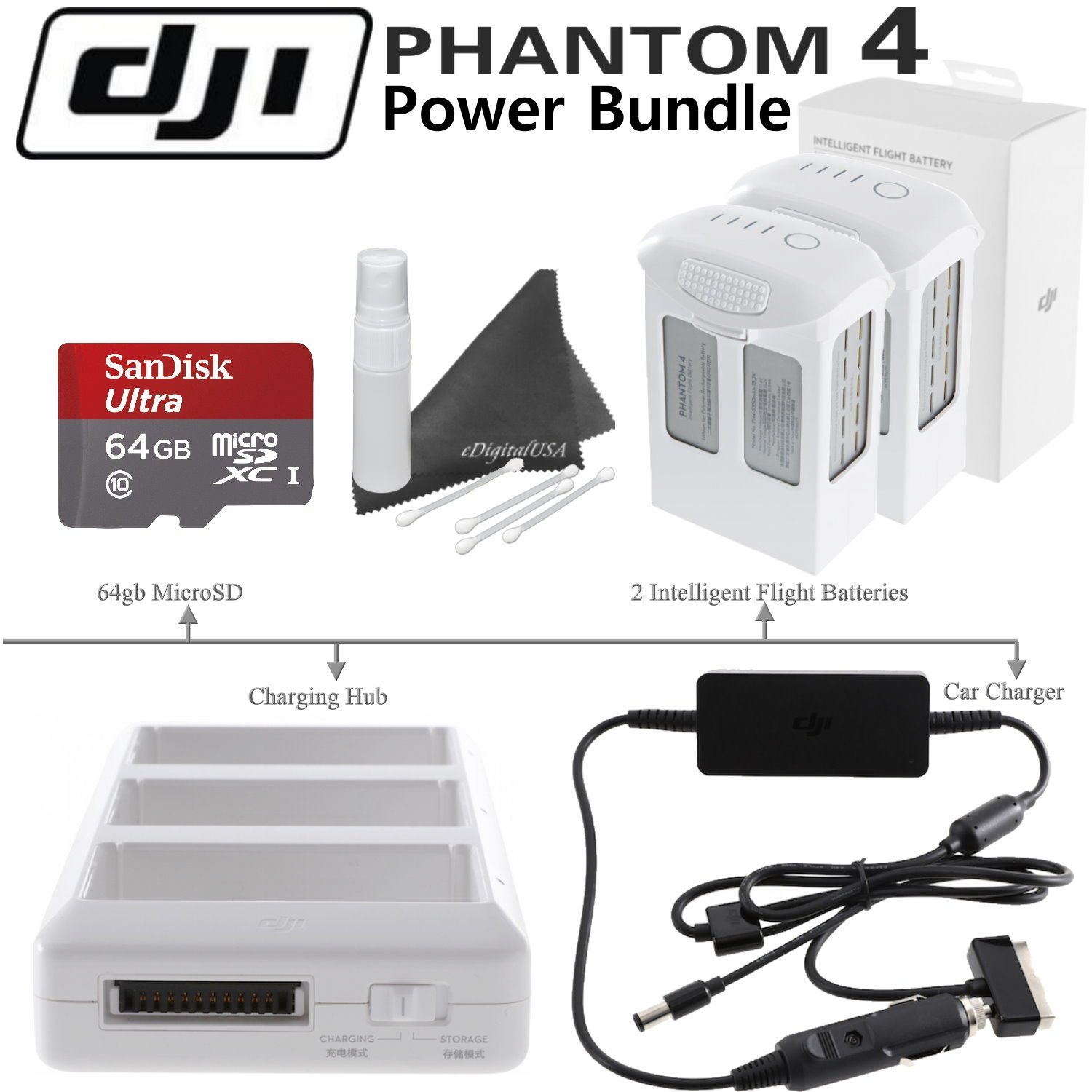 DJI Phantom 4 Power Bundle: Includes 2 Phantom 4 Intelligent Flight Batteries, Charging Hub, Car Battery Charger, SanDisk 64GB MicroSD Card & eDigitalUSA Cleaning Kit by DJI