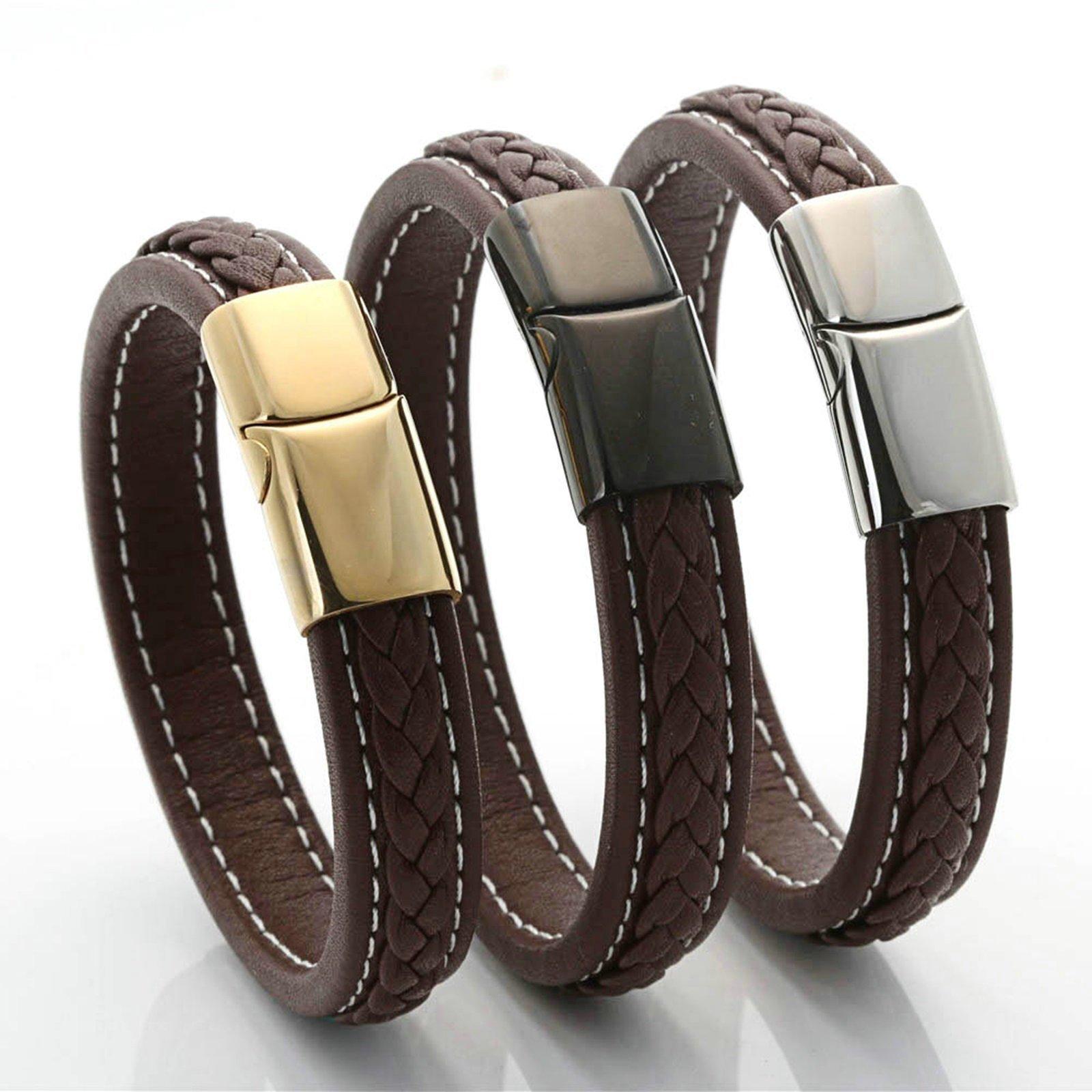 Aooaz Jewelry Titanium Steel Bracelet for Men Woven Rope Cuff Bracelet Black 20.5CM Chain Bracelet