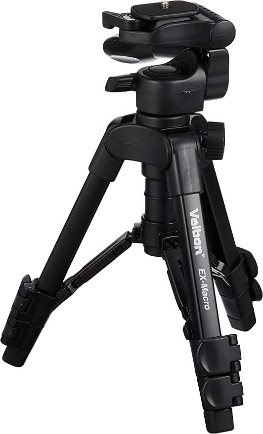 BRAND NEW UK Velbon EX-Macro Tabletop Tripod with 3-Way Pan Head and Case