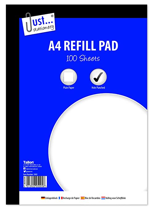 Just Stationery - 6 x A4 bloc de recambio 100 hoja lateral ...