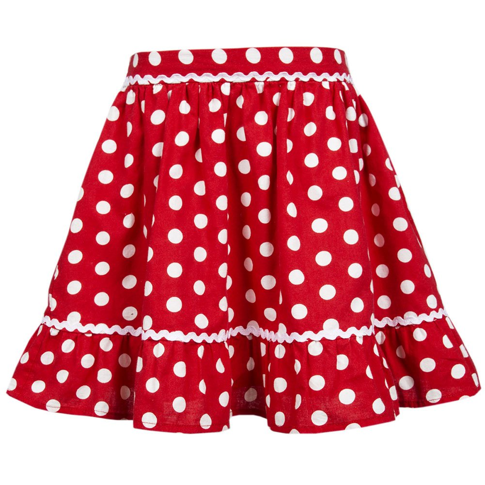 Benito & Benita Girls Skirt Swing Dresses Vintage Polka Dot Skirt A-Line Flare Skirts Ruffle Cotton Summer Dress