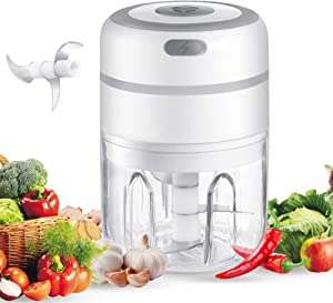 Electric Garlic Chopper,USB Charging Portable Electric Garlic Masher Food Chopper with 3 Sharp Blades Food Processor for Kitchen Baby Food Maker/Grinder -250ML