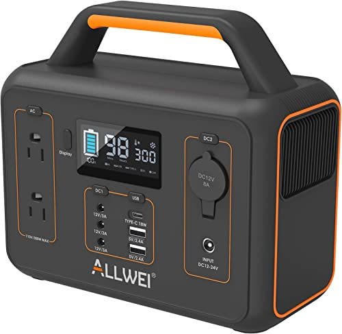 ALLWEI Portable Power Station, 300W Peak 600W Solar Generator 280Wh 78000mAh CPAP Backup Lithium Battery Pack with LED light,Pure Sine Wave AC Outlet, QC3.0 USB,for Outdoors Camping Travel Emergency