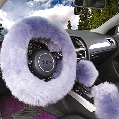 Yontree Fashion Fluffy Steering Wheel Covers for Women/Girls/Ladies Australia Pure Wool 15 Inch 1 Set 3 Pcs (Gray): Automotive