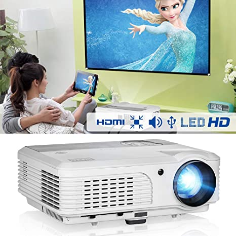 EUG X660S+ WXGA LCD Movie Projector 4400 lumen with 2 HDMI 2 USB VGA RCA  Audio AV LED Home Theater Cinema Projector for Gaming TV Arts Outdoor
