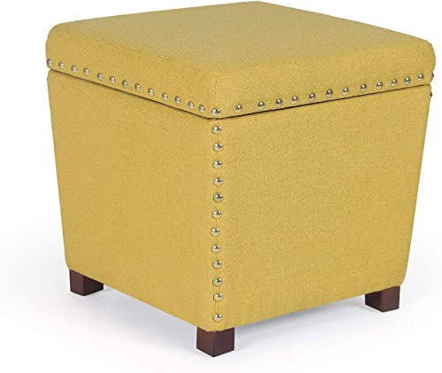 Homebeez Storage Ottoman Square Footrest Stool Small Fabric Footstool