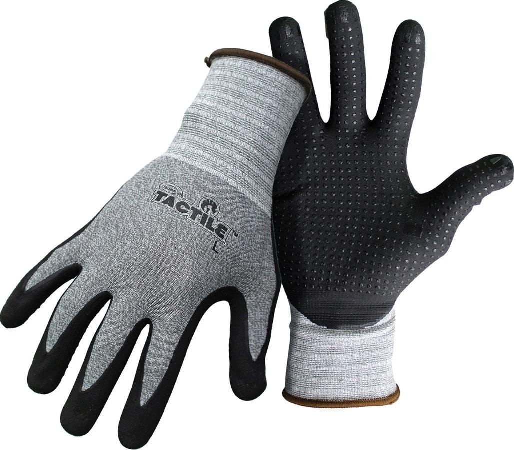 BOSS MANUFACTURING 8445 X 656732 Tactile Dotted Dipped Nitrile Palm Glove, Xlarge, Black/Gray