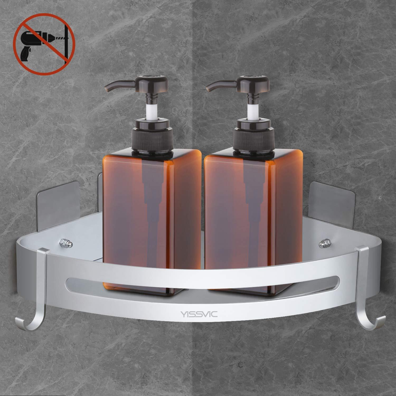 Yissvic Eckablage Duschkorb Duschablage Duschregal Befestigen Ohne Bohren mit 2 Haken aus Raum Aluminium f/ür Badezimmer und K/üche Verpackung MEHRWEG