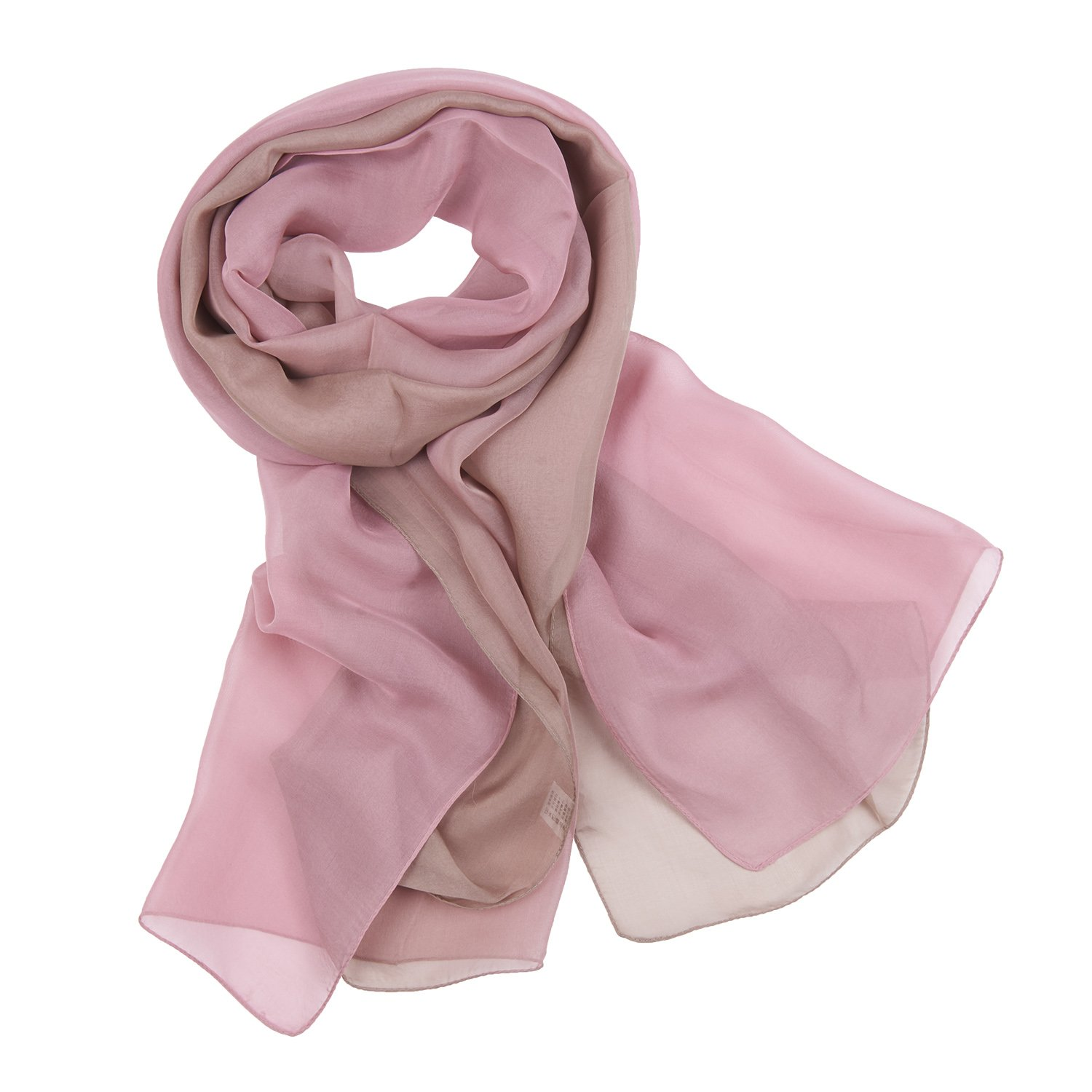 Bicolored Silk Shawl Wrap Smooth Gentle Special Vogue Light Long Girls (Pink)