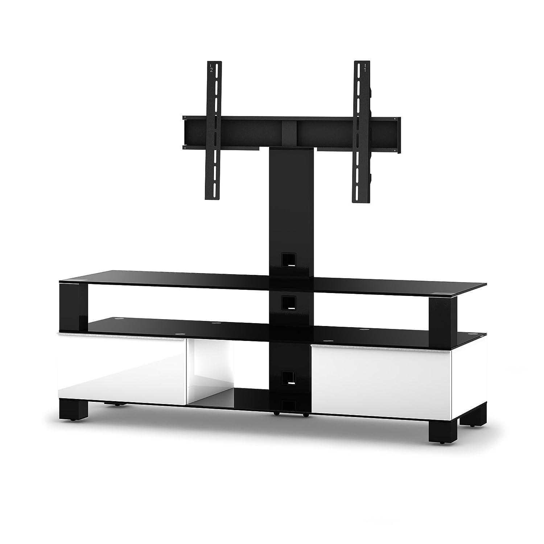 Sonorous MD 8143-B-HBLK-WHT Fernseher-Möbel mit Schwarzglas (Aluminium Hochglanz, Korpus Hochglanzdekor) weiß/schwarz