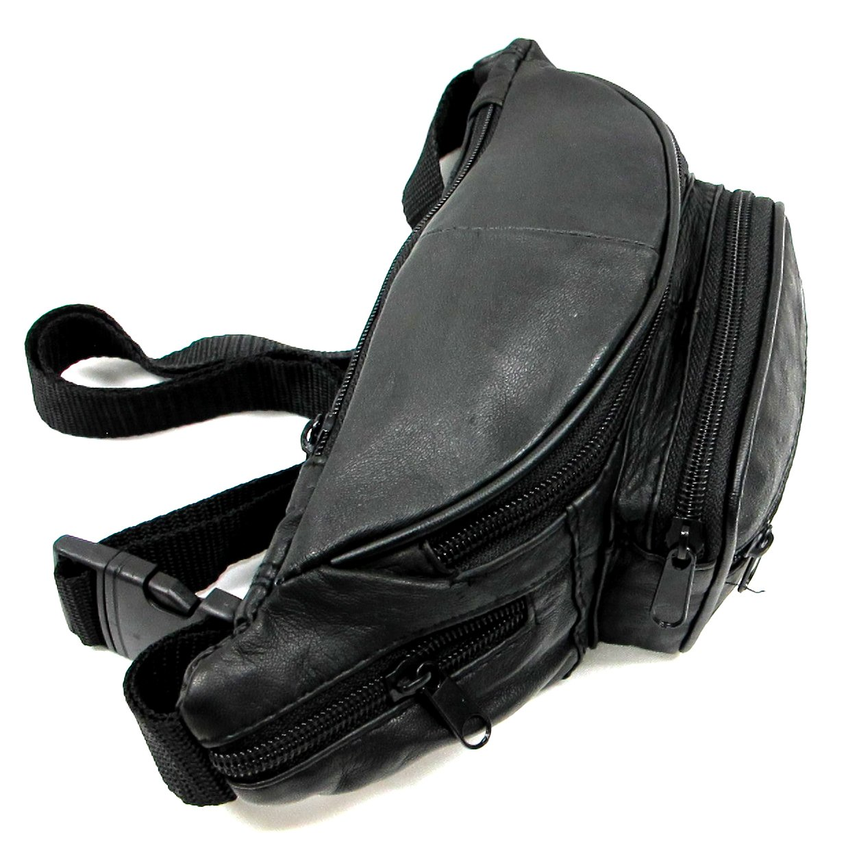 6 Zipper Pockets Genuine Soft Leather Fanny Pack Waist Bag Small Size Black