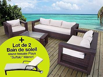 Habitat et Jardin - Salon de jardin 100% Alu et résine tressée Rio ...
