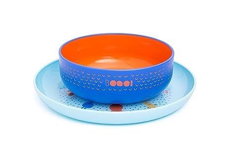 Suavinex - Set Vajilla Bebé Bowl + Plato Infantil BOOO. Apto Para Microondas y Lavavajillas, Color Azul