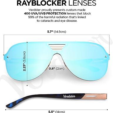 Verdster Trendige Gespiegelte Piloten-Sonnenbrille - Spezielle TourDePro Gläser - Zubehöretui - UV400 Schutz - Übergroße Sonnenbrille- Ideal für Städtetouren (Blau) QT6CC