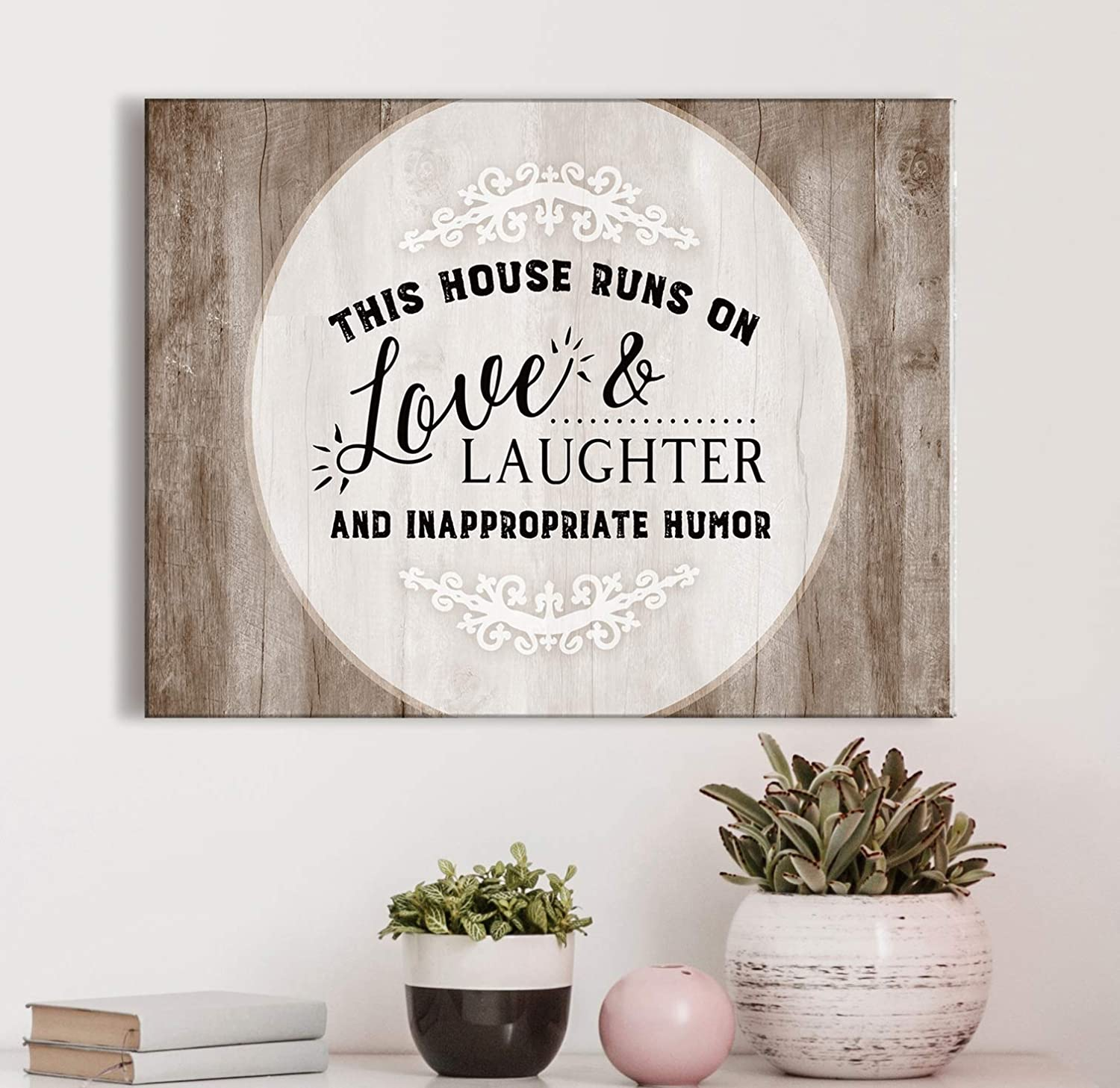 Sense of Art   This House Runs On Love And Laughter   Home Sign   Wall Signs With Quotes   Home Sign Decor  Wall Decor For Living Room   Home Wall Decals   Rustic Art (Brown, 30x40)