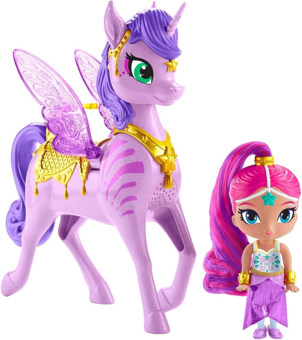Shimmer Y Shine - Zahracornio Mágico Volador, Muñeca con Unicornio de Juguete (Mattel GCM01)