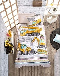 OZINCI 100% Cotton Boys Bedding, Construction Vehicles Themed Single/Twin Size Duvet Cover Set, (3 Pcs)
