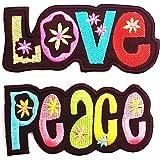 Parche termoadhesivo parche para ropa Love + Peace 2 piecas - 2 x 10.5 x 5 cm