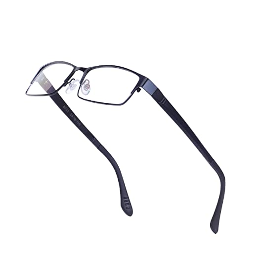 34fe0d3fb7 Image Unavailable. Image not available for. Color  Rectangular Glasses Frame  for Men Non-prescription Clear Lens Metal Eyewear with Case