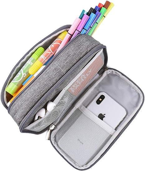 Estuche para lápices, de gran capacidad, estuche con grandes compartimentos para la escuela, estudiantes, niños, niñas y oficina, color gris: Amazon.es: Oficina y papelería