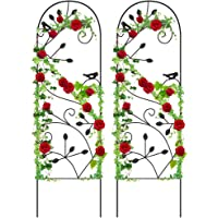 Amagabeli 2 Pack Garden Trellis GTP001 46″ x 15″ Black Sturdy Iron Potted Support Vines Vegetable Flower Patio Metal Wire Lattices Grid Trellises for Ivy Rose Grape Cucumber Clematis