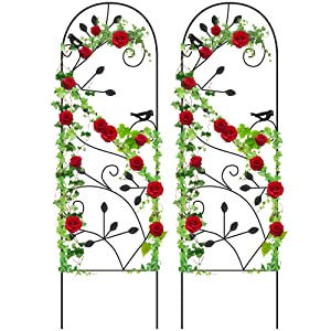 """Amagabeli 2 Pack Garden Trellis for Climbing Plants 46"""" x 15"""" Black Sturdy Iron Potted Support Vines Vegetable Flower Patio Metal Wire Lattices Grid Trellises for Ivy Roses Grape Cucumber Clematis"""