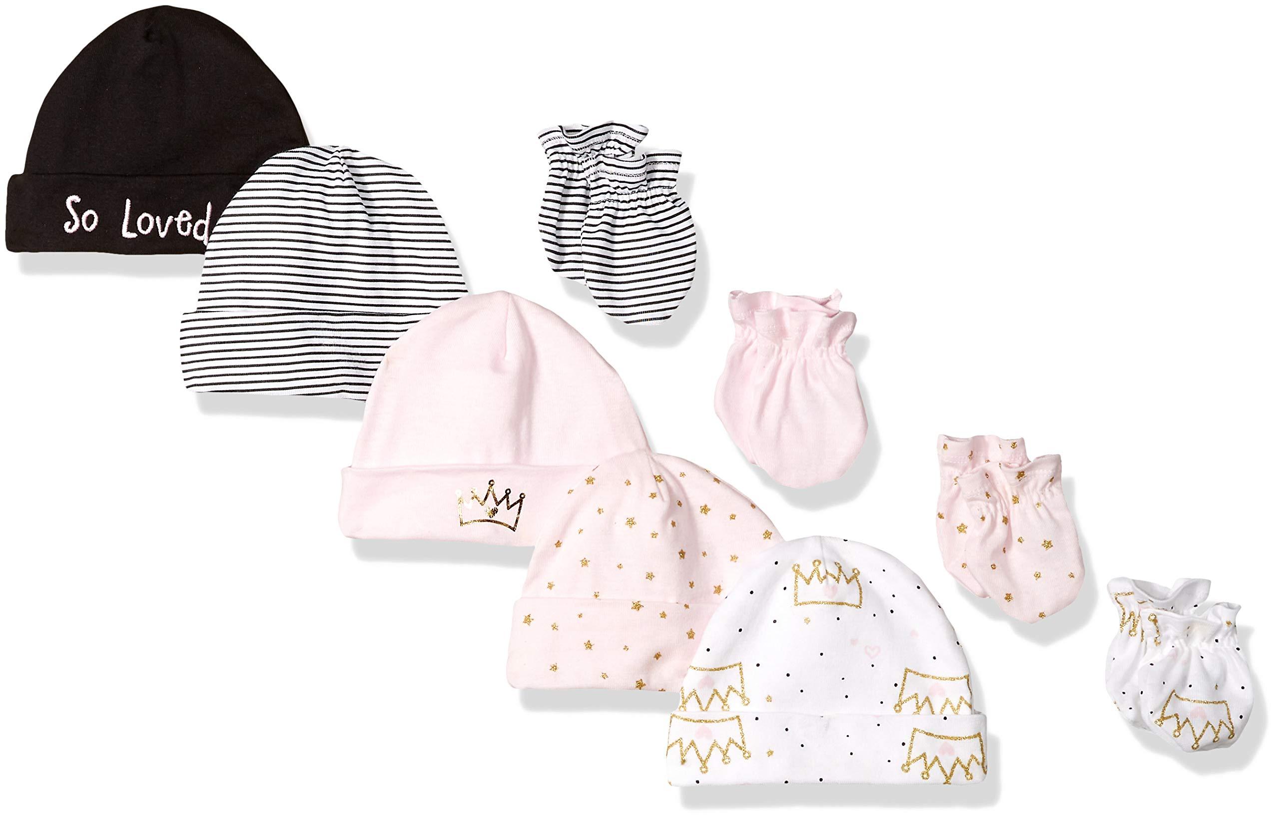 GERBER Baby Girls' 9-Piece Cap and Mitten Bundle, Princess Crown, Newborn by GERBER
