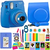 FujiFilm Instax Mini 9 Camera and Accessories Bundle - Instant Camera, Carrying Case, Color Filters, Photo Album, Stickers, Selfie Lens + MORE (Cobalt Blue)