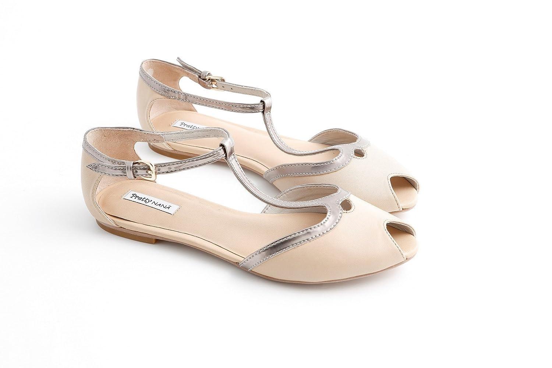 Pretty Nana Mujer zapatos con correa 37 EU|nude+ottone