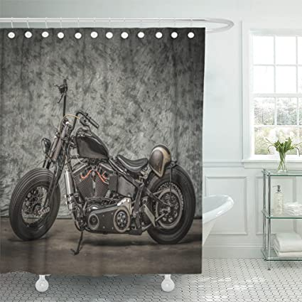 Emvency 72quotx72quot Shower Curtain Waterproof Black Harley Motorcycle With Cool White Davidson Vintage