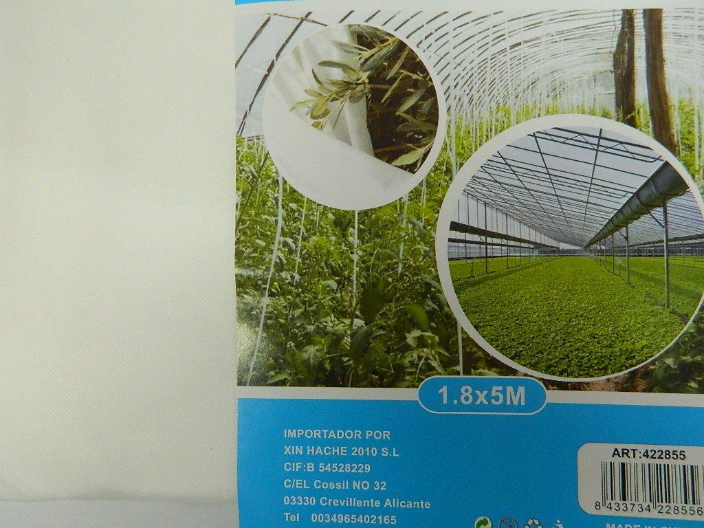 Lona antihielo invernadero 1, 8 x 5 m térmica 30 G/m2 Protège cultivos de invierno luz Production précoce flores, ensaladas, fresa, tomate.