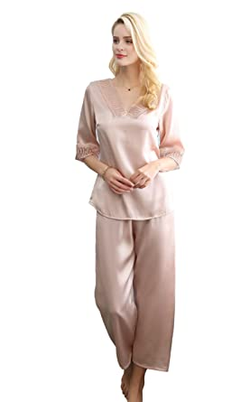 ca312252251d CLC Women s Pure Mulberry Silk Pajama Set Lace Sleep Sets at Amazon ...