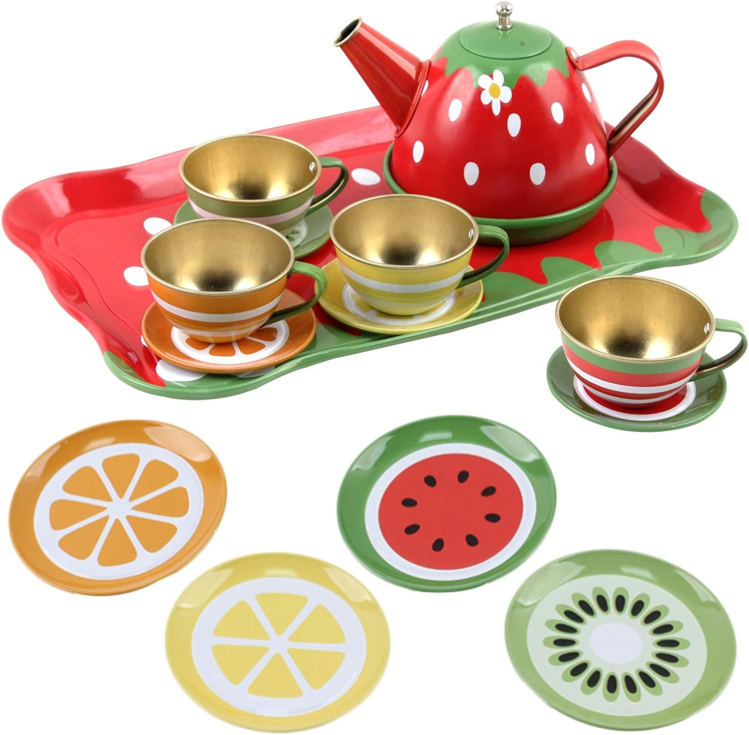 Vokodo Kids Fruit Themed Pretend Play Tea Set 14 Piece Durably Built from Food-Safe Material BPA-Free Kitchen Playset Perfect Early Learning Preschool Toy Great Gift for Children Girls Boys Toddlers