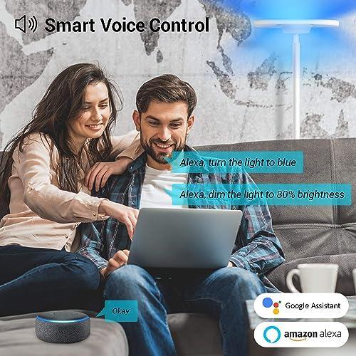 MikeWin Smart LED Floor Lamp WiFi 66 in. Torchiere Floor Lamp Work