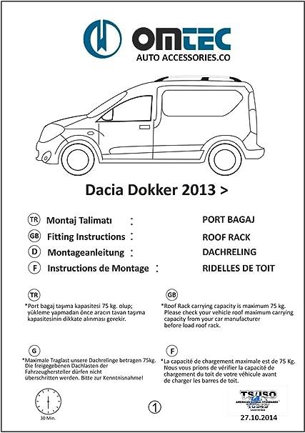 Für Dokker 2012 2020 Dachreling Dachgepäckträger Aluminium Grau Omberg 2 Teileg Auto