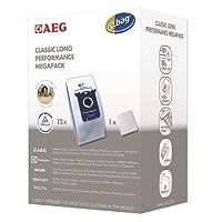 AEG GR 201 M original s-bag classic long performance MegaPack, 12 Synthetik Staubsaugerbeutel, Passend u.a. für AEG UltraSilencer, ClassicSilence, SilentPerformer, Equipt, PowerForce, VX4, VX6, VX7, VX8