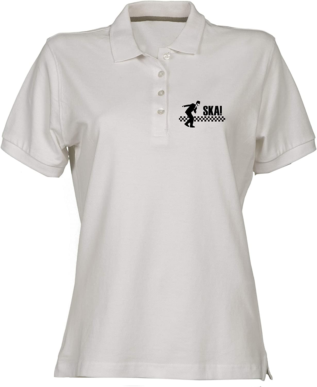 T-Shirtshock Polo for Woman White FUN3078 ska Logo