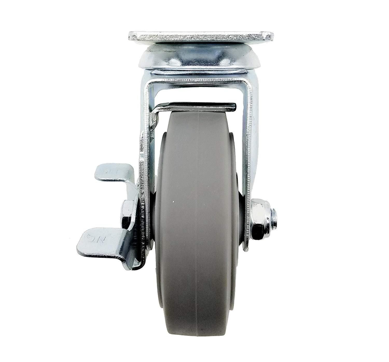 DGQ 4'' Caster Wheels Heavy Duty Premium Commercial Grade Set of 4 (2 Rigid, 2 Brakes)