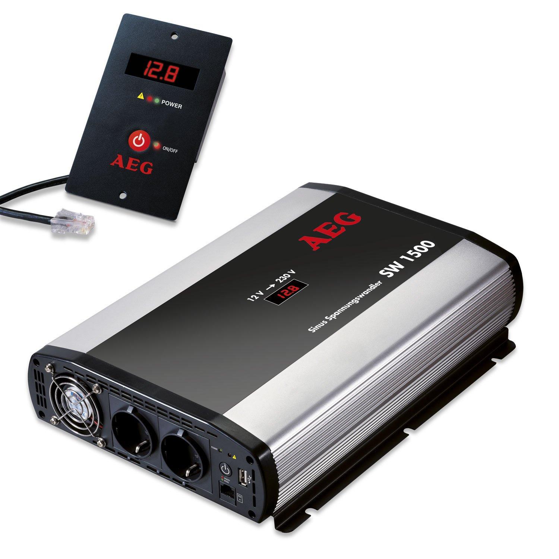 AEG 97116 Spannungswandler ST 800 Watt, 12 Volt auf 230 Volt, mit LCD-Display, USB Ladebuchse, Fernsteuerungsmodul und Batteriewä chterfunktion AEG Automotive