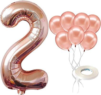 Amazon Com Globo De Oro Rosa Número 2 Para Cumpleaños Grande 40 Pulgadas Globos De Látex De Oro Rosa Paquete De 7 Decoraciones De Globos De Segundo Cumpleaños Mylar Número 2