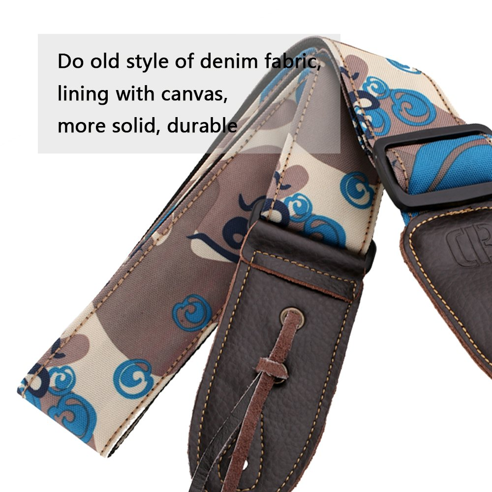 Mugig Guitar Strap Leisure Camouflage Style Wide and Soft Materail with Leather End for Bass & Electric Guitar(Blue)
