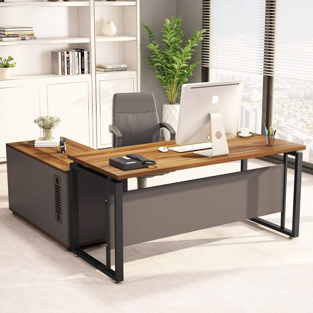 LITTLE TREE L-Shaped Computer Desk, 55'' Executive Desk Business Furniture with 39'' File Cabinet Storage Mobile Printer Filing Stand for Office Dark Walnut by LITTLE TREE